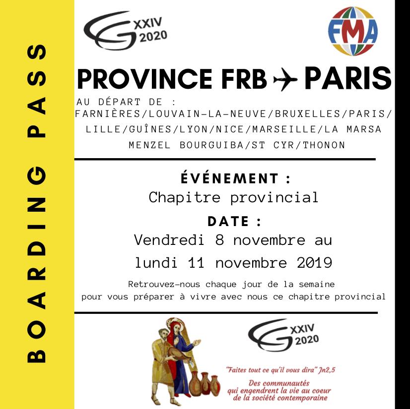 Chapitre Provincial : N'oubliez pas votre Boarding Pass !